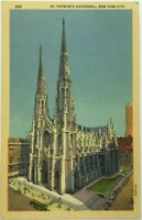 St Patrick's Cathedral Catholic Church New York City NY Vintage Linen Postcard