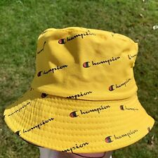 Vintage Style Retro CHAMPION Reversible Bucket Hat 90s - NEW - Yellow Black