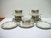 Gibson Christmas Charm Holiday Charm 5 FLAT Cups 7 SAUCERS  Holly Red  Berry
