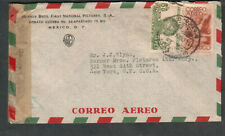 Mexico 1945 WWII censor 6948 cover Warner Brothers Films to J J Glynn NY
