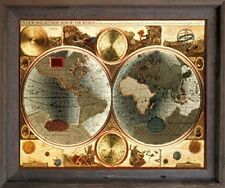A New and Accvrat Map of the World Vintage Wall Decor Barnwood Framed Picture