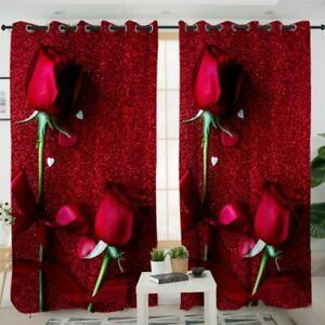 Red Glitter Rose Floral Love Petal Window Living Room Bedroom Curtains Drapes