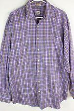 Peter Millar Mens Sz L Purple Multicolor Check LS Button Front Shirt