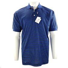New COMO Sport Cobra Golf Polo Shirt M 100% Cotton Blue Striped Short Sleeve NWT