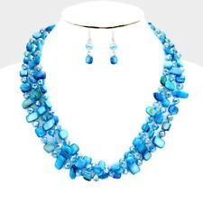 Three Strand Turquoise mother Of Pearl shell And Glass Bead Necklace Earring