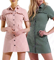 NEW Womens Longline Denim Shirt Dress Ladies Jean Dresses Size 6 8 10 12 14
