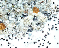 CandyCabsUK 50g Mixed Flatback Faux Half Pearls Cabochons Ivory & Gold Wedding