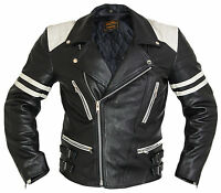 Motorrad Lederjacke Retro Jacke Herren 80´s Old school Bikerjacke Rocker