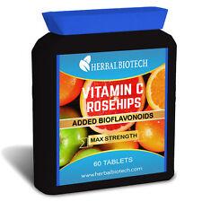 HerbalBioTech Vitamin C With Rosehip Powder & Citrus BioFlavonoids 60 Tablets
