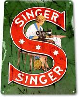 Singer Sewing Machine Tin Metal Sign