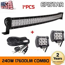 42inch 240W LED Light Bar Curved Off Road Truck Jeep Ford+2x18W Lights+1xWiring