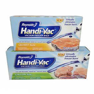 Reynolds Handi-Vac Vacuum Freezer Bags Quart (14) & Gallon Size (9) New Boxes