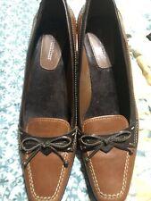 Naturalizer Blake Two Tone Cognac & Dk Brown Leather Pumps Heels W/ Bow 9N