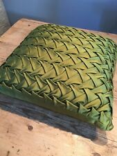 """BEAUTIFUL HAND MADE GREEN COUCHED TUFTED SATIN SQUARE CUSHION  16"""""""