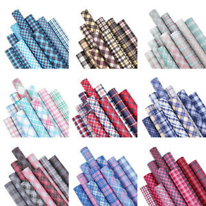 10PCS Bundle Plaid Series Faux Leather Fabric Sheets For Bows & Earring Crafts