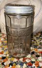 """Vintage Glass Ribbed All-Spice Jar Canister With Metal Lid 5"""" Hoosier Style"""