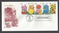 #2993-2997, First Day Cover, Fall Garden Flowers booklet pane plate #2