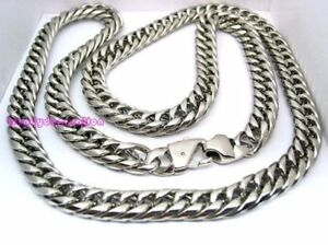 """18""""-40"""" 16MM 316L Stainless Steel Men's Curb Cuban Chain Necklace Silver Heavy"""
