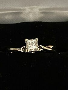 Magic Glo 14K White Gold Natural Diamond Solitaire Engagement Ring Authentic
