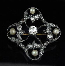 c1800s Early Victorian Old Cut Diamonds 18k Yellow Gold Silvertop Brooch Pendant