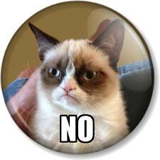 Grumpy Cat NO 25mm Pin Button Badge Internet Meme Funny Pet Humour Comedy Cute