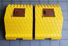 Lot Of 2 LEGO DUPLO TOWN FARM - YELLOW BARN ROOF WITH BROWN WINDOW SHUTTER