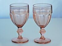 2 Vintage Libbey Duratuff Gibralter Pink Glass Water Goblets Heavy