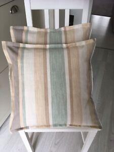 "2 Handmade Cushion Covers Laura Ashley Awning Stripe 17""x17"""