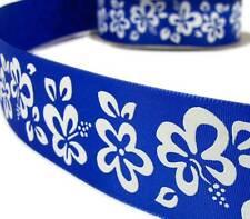 "2 Yds Royal Blue White Hibiscus Tropical Flower Ribbon 1 1/2""W"