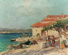 Ancien Tableau / Huile sur Toile signée AWY ? paysage méditerrannée orientaliste