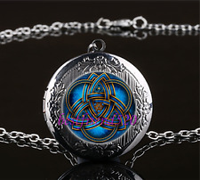 Blue celtic triquetra Cabochon Glass Gun Black Locket Pendant Necklace