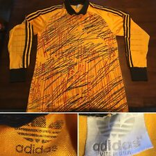Vtg Adidas Soccer Futbol Goalie Goalkeeper Padded Shirt Yellow Graffiti Usa Made