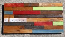 Reclaimed Wood Sculpture Wall Art Rustic Country Distressed 23x12 red blue green