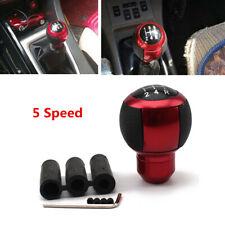 Leather Round Aluminium Car 5 Speed Gear Shift Knob Shifter Lever Kit Ball Shape