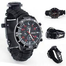 550 Paracord Survival Watch Bracelet With Compass Flint Fire Starter Outdoor Kit