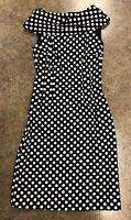 Tahari Arthuer S Levine Women Black White Polka Dot Midi Sheath Dress Size 2