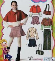 Girl + 8-16 Capelet Pants Skirt Bag Top Lizzie McGuire Simplicity 4390 Pattern