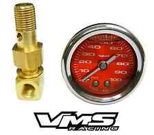 "VMS HONDA ACURA 1 1/2"" 100PSI RED FUEL PRESSURE GAUGE LIQUID FILLED 1/8 NPT KIT"