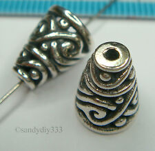 2x BALI STERLING SILVER SWIRL BEAD CONE CAP SPACER 10.5mm #1364