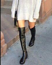 $665 Stuart Weitzman Reserve Leather Boots OTK Black Size 8.5 Over the Knee