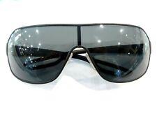 PRADA Linea Rossa Rectangle Black Metal Sunglasses with Grey Lenses