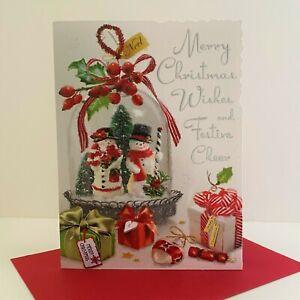Jonny Javelin Merry Christmas Wishes Festive Cheer Card Snowman Snow Globe/XV098