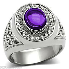 10x8 mm 316 Stainless Steel February Amethyst Stone Dome Cut Men Ring Size 7-15