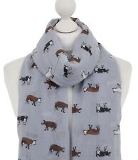 Grey Cow Scarf Ladies Dairy Farm Animals Print Cow Scarves Women Gifts For Her