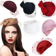 A082 Lady Womens Dress Fascinator Wool Felt Pillbox Hat Party Wedding Bow Veil