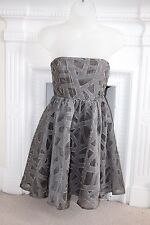 BNWOT Alice + Olivia Sleeveless Grey Bandeau mini Dress XS 8 Fit & Flare Small !