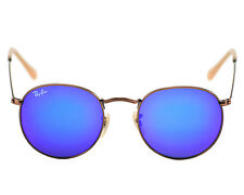 Ray Ban RB3347 Round Flash Lenses 167/68 Bronze-Copper Frames/Blue Mirror lenses