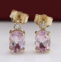 2.56 Carat Natural Pink Kunzite & Diamond in 14K Solid Yellow Gold Stud Earrings
