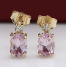 2.56 Carat Natural Pink Kunzite & Diamond in 14K Solid Yellow Gold Stud Earrings