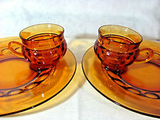 2 Indiana Glass Amber King's Crown Thumbprint Snack Plates with Cups